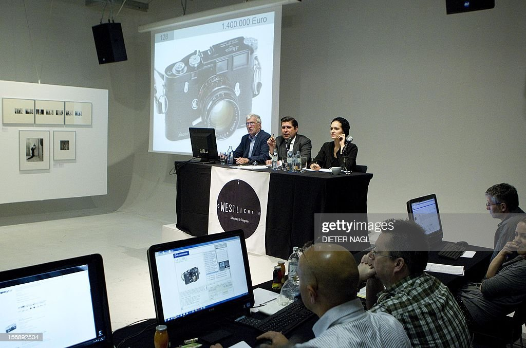 A Leica M3D camera dated 1955 owned by 'Life' magazine photographer David Douglas Duncan is sold for 1,400 000 Euro during an auction of antique cameras on November 24, 2012 at the Westlicht photo-gallery in Vienna. The complete prize with the customers fees is 1,680 000 Euro.