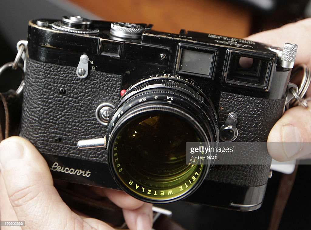 A Leica M3D camera dated 1955 owned by 'Life' magazine photographer David Douglas Duncan is sold for 1,400 000 Euro during an auction of antique cameras on November 24, 2012 at the Westlicht photo-gallery in Vienna. The complete prize with the customers fees is 1,680 000 Euro. AFP PHOTO / DIETER NAGL