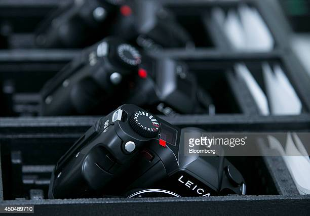 Leica S camera bodies sit inside the Leica Camera AG factory as the company celebrates their 100th anniversary in Wetzlar Germany on Thursday June 12...