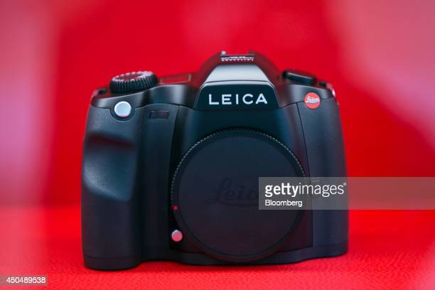 A Leica S camera body sits on display inside the Leica Camera AG factory as the company celebrates their 100th anniversary in Wetzlar Germany on...