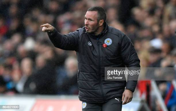 Leicester caretaker Manager Michael Appleton reacts during the Premier League match between Swansea City and Leicester City at Liberty Stadium on...