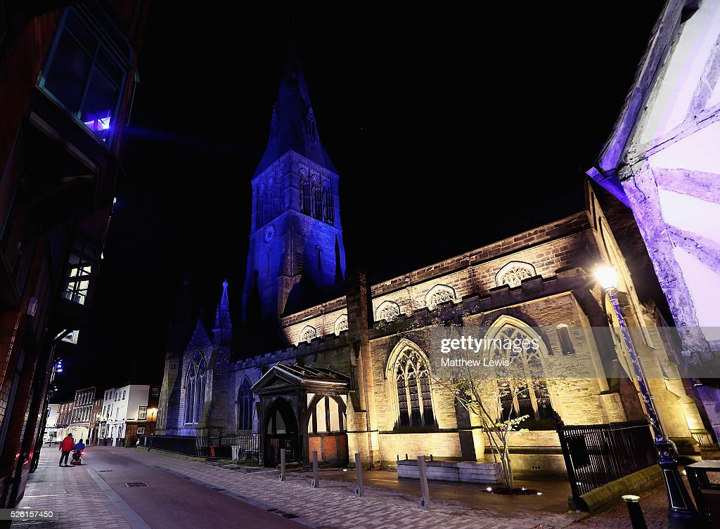 Leicester Cathedral is lit up blue, showing their support to Leicester City FC during a Leicester Backing the Blues Campaign in support of Leicester City on April 29, 2016 in Leicester, England.