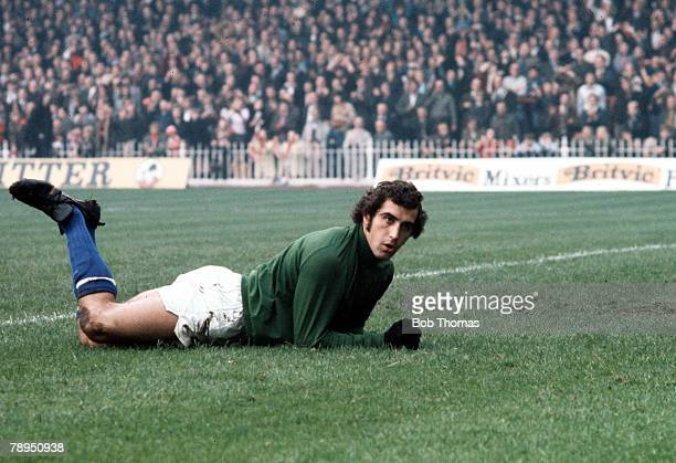 Leicester City and England goalkeeper Peter Shilton lies on the ground after making a save