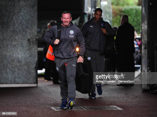Leicester City Caretaker Manager Michael Appleton arrives at the liberty stadium during the Premier League match between Swansea City and Leicester...
