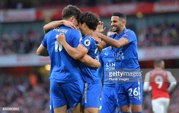 Leicester City celebrate after Jamie Vardy of Leicester City scores to make it 12 during the Premier League match between Arsenal and Leicester City...