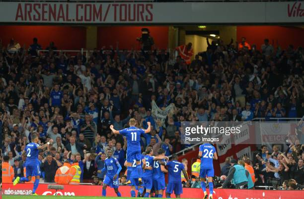 Leicester City celebrate after Jamie Vardy of Leicester City scores to make it 23 during the Premier League match between Arsenal and Leicester City...