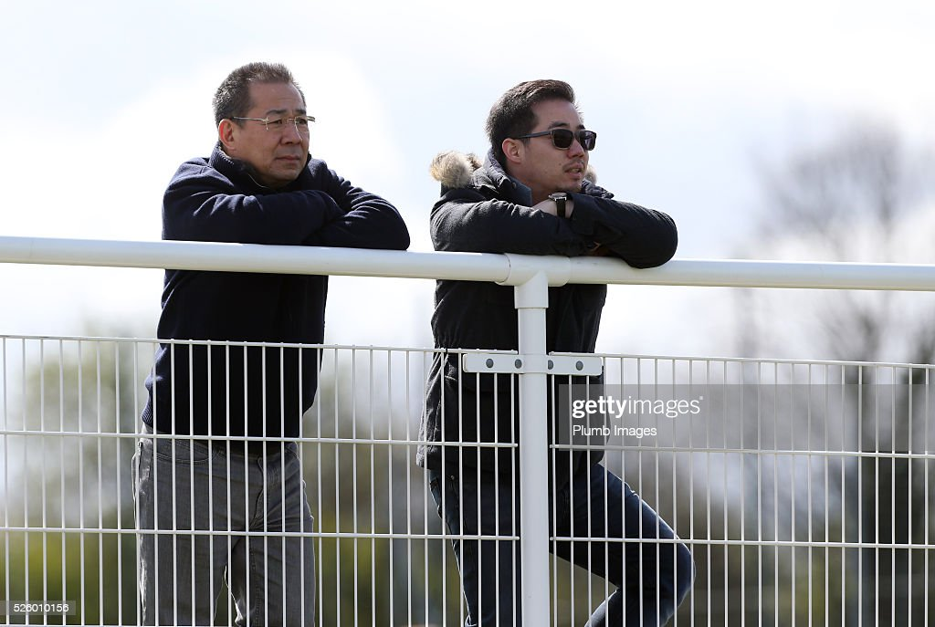 Leicester City Chairman Vichai Srivaddhanaprabha with Vice Chairman Aiyawatt Srivaddhanaprabha during the Leicester City training session at Belvoir Drive Training Complex on April 29th , 2016 in Leicester, United Kingdom.