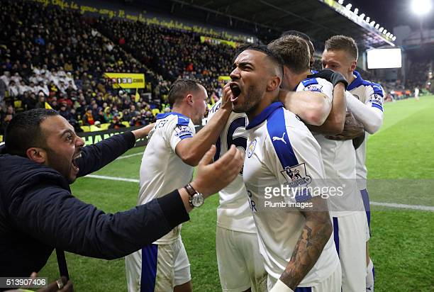 Leicester City fan celebrates with Danny Simpson of Leicester City after Riyad Mahrez of Leicester City scores to make it 01 during the Premier...