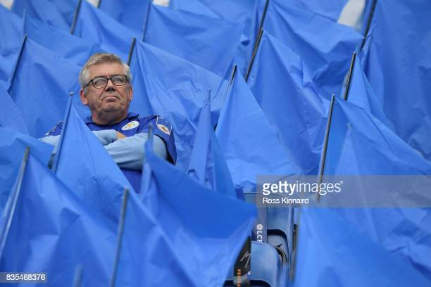 Leicester City fan looks on prior to the Premier League match between Leicester City and Brighton and Hove Albion at The King Power Stadium on August...