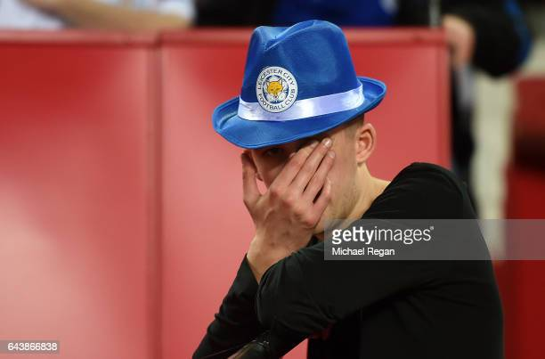 Leicester City fan reacts during the UEFA Champions League Round of 16 first leg match between Sevilla FC and Leicester City at Estadio Ramon Sanchez...