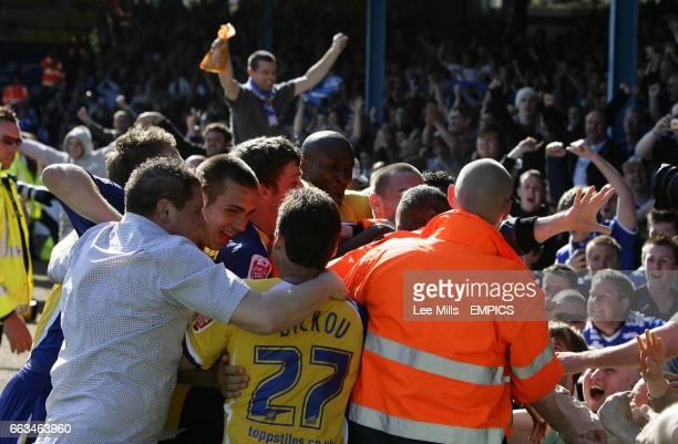 Leicester City fans and players celebrate Matty Fryatt's 1st goal