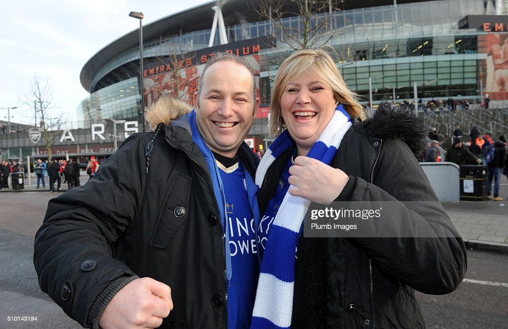 Leicester City fans arrive at The Emirates Stadium ahead of the Barclays Premier League match between Arsenal and Leicester City at Emirates Stadium on February 14, 2016 in London, United Kingdom.