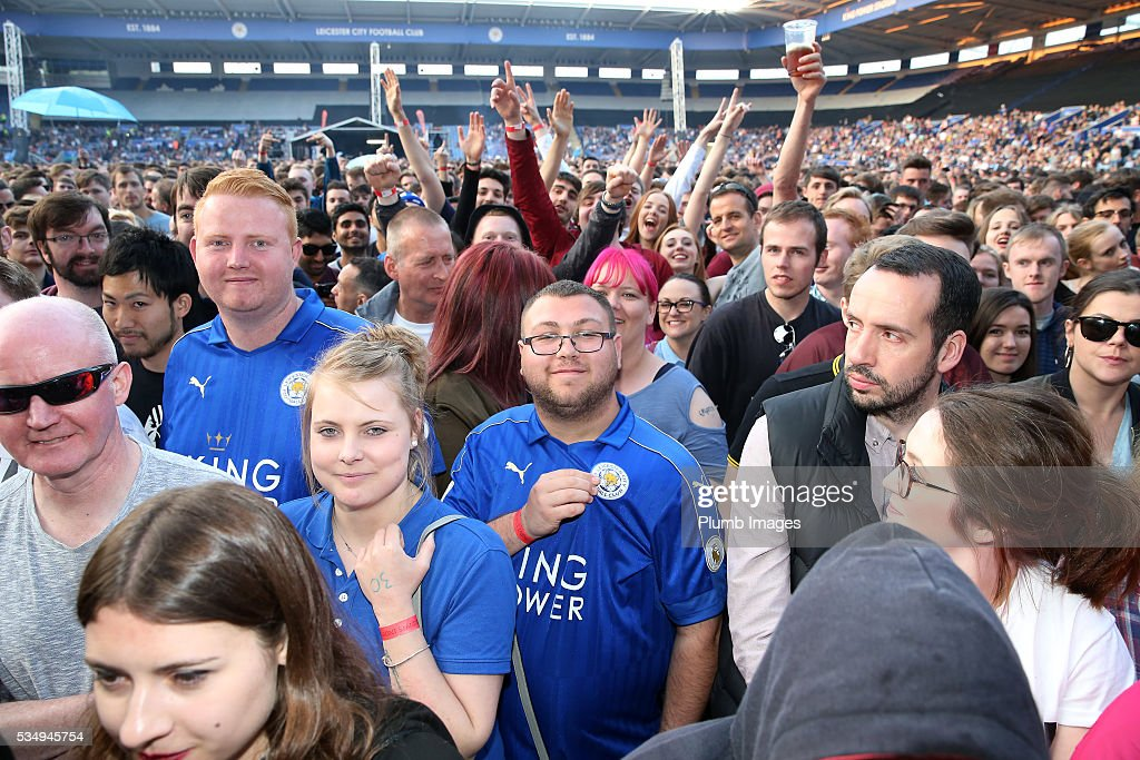 Leicester City fans at King Power Stadium ahead the Kasabian gig at King Power Stadium on May 28th , 2016 in Leicester, United Kingdom.