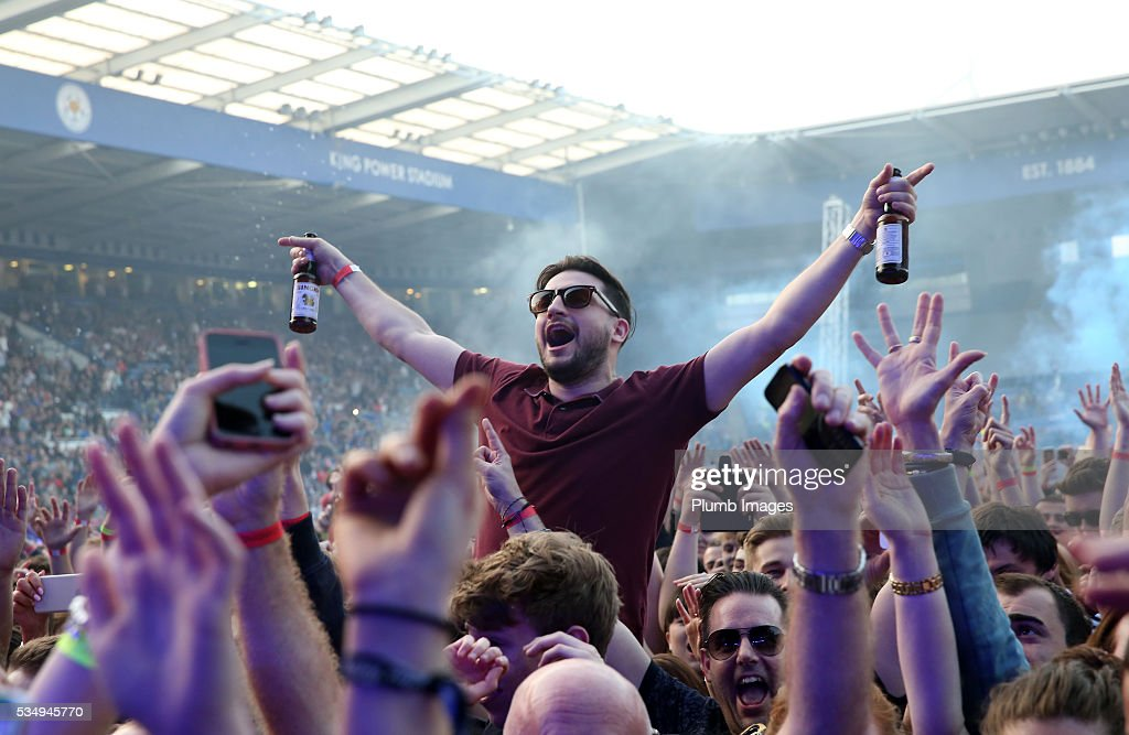 Leicester City fans at King Power Stadium during the Kasabian gig at King Power Stadium on May 28th , 2016 in Leicester, United Kingdom.