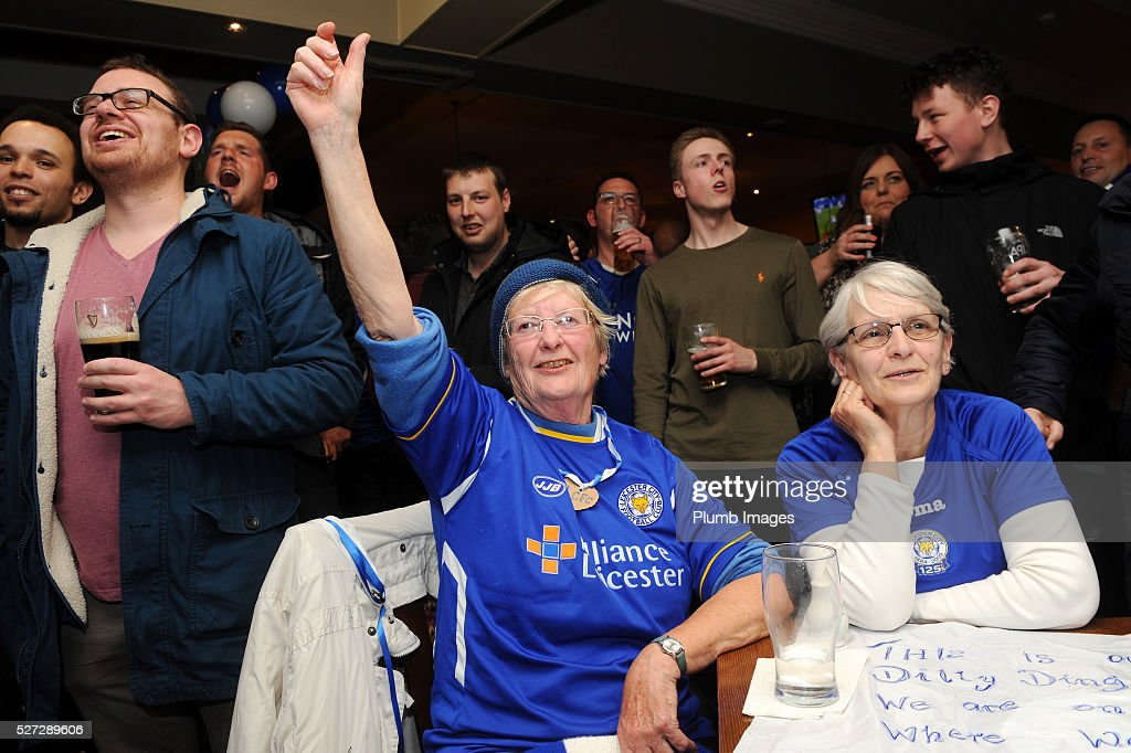 Leicester City Fans at The Local Hero pub on Freemans Common watching Tottenham Hotspur Play Chelsea on May 2nd , 2016 in Leicester, United Kingdom.