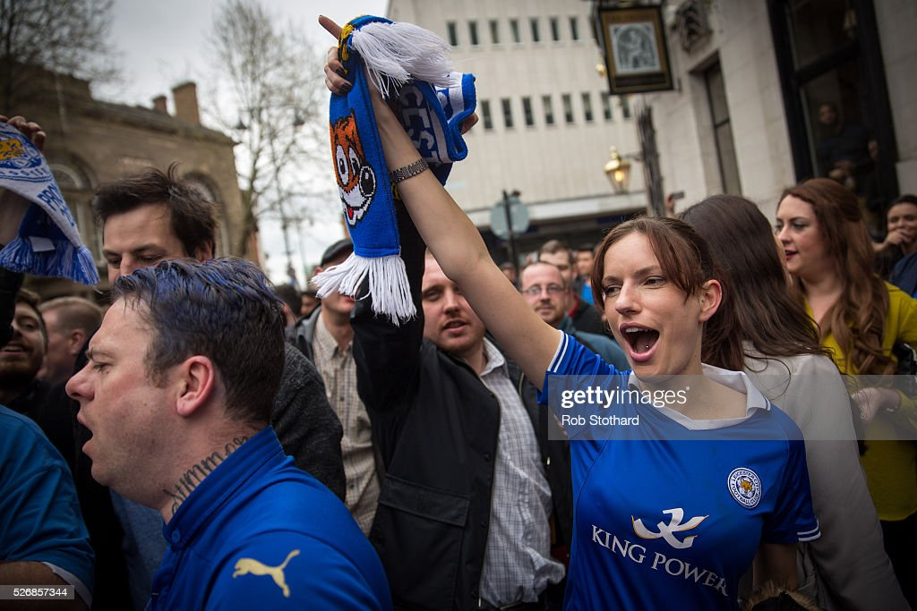 Leicester City fans celebrate a draw against Manchester United in The Market Tavern on May 1, 2016 in Leicester, England. Leicester City can have won the Premier League title today if they had beaten Manchester United away at Old Trafford. Leicester City will be crowned champions on Monday if Tottenham Hotspur fail to win on Monday in what would be one of the league's most surprising and memoriable moments.
