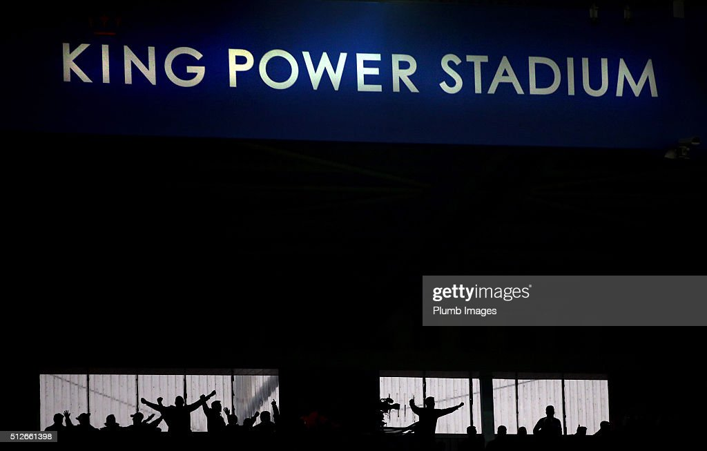 Leicester City fans celebrate after Leonardo Ulloa's late winner during Barclays Premier League match between Leicester City and Norwich City at the...