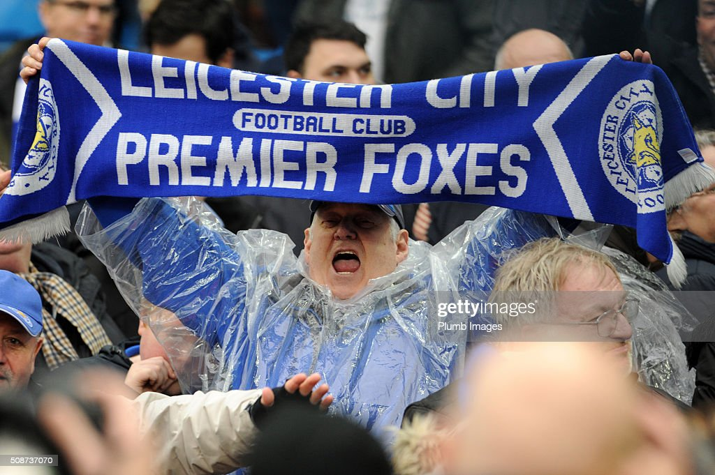 Leicester City fans celebrate after their team beats Manchester City 1-3 during the Premier League match between Manchester City and Leicester City at Etihad Stadium on February 6, 2016 in Manchester, United Kingdom.