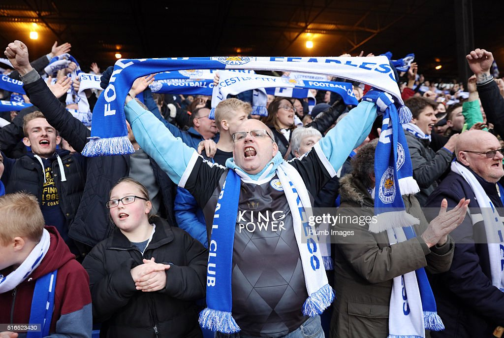 Leicester City fans celebrate going 8 points clear at the top of the Premier League after the Premier League match between Crystal Palace and Leicester City at Selhurst Park on March 19, 2016 in London, United Kingdom.