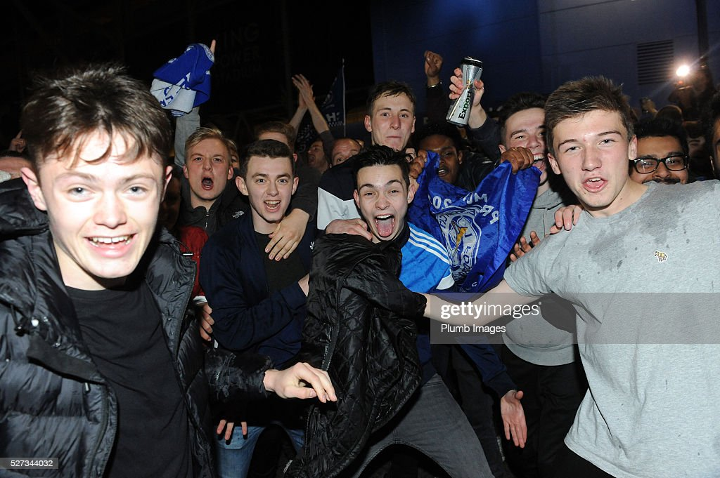 Leicester City Fans celebrate their team becoming Premier League champions outside King Power Staduim on May 2nd , 2016 in Leicester, United Kingdom.