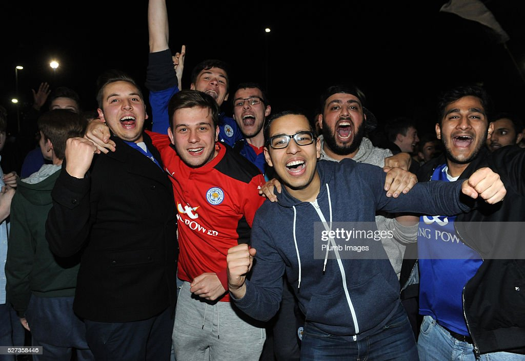 Leicester City fans celebrating winning the league outside King Power Stadium on May 2nd , 2016 in Leicester, United Kingdom.
