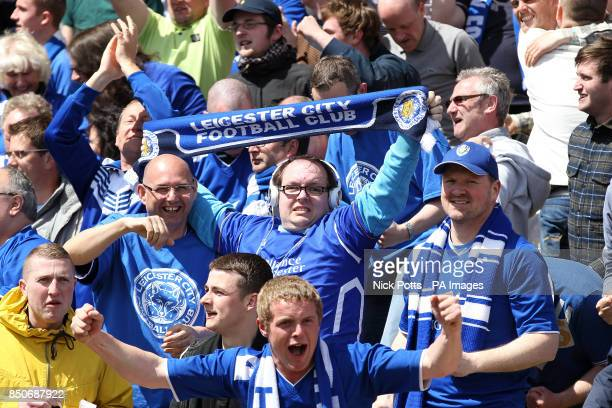 Leicester City fans cheer on their side in the stands