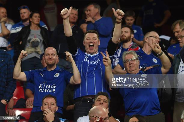 Leicester City fans enjoy the atmosphere during the UEFA Champions League Round of 16 first leg match between Sevilla FC and Leicester City at...