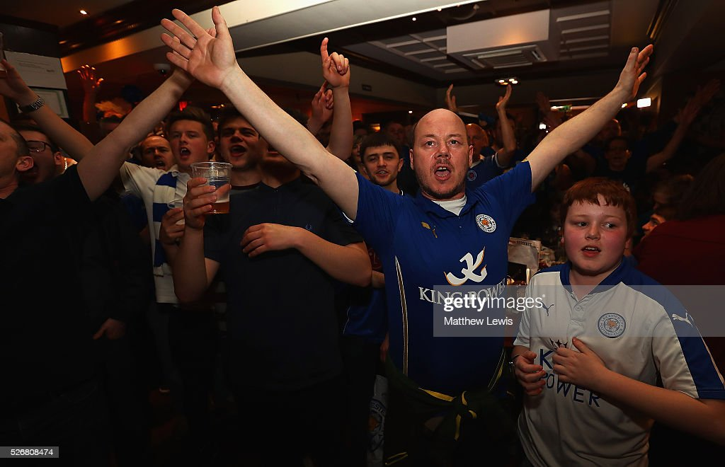 Leicester City fans gather in the Local Hero pub to watch their match against Manchester United on May 1, 2016, 2016 in Leicester, England.