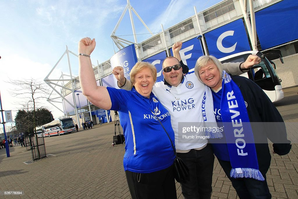 Leicester City fans leave King Power Stadium for Old Trafford ahead of the Premier League match between Manchester United and Leicester City at Old Trafford on May 1, 2016 in Leicester, United Kingdom.