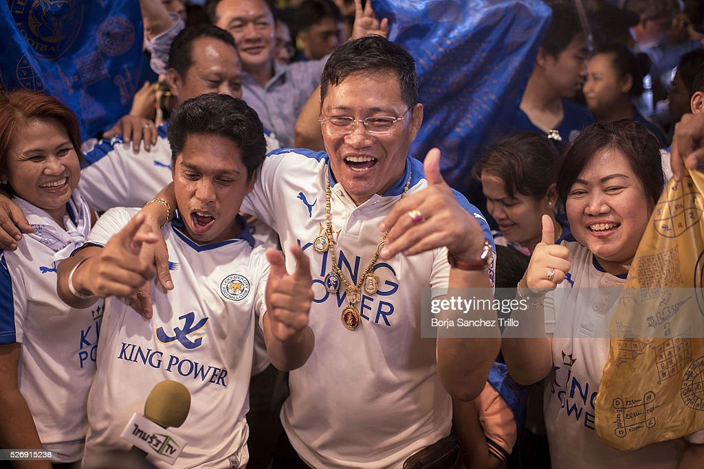 Leicester city fans react after watching their team plays against Manchester United on May 1, 2016 in Bangkok, Thailand. Leicester City fans gather at King Power Hotel in Bangkok to watch the Premier League game between Manchester United and Leicester City at Old Trafford.