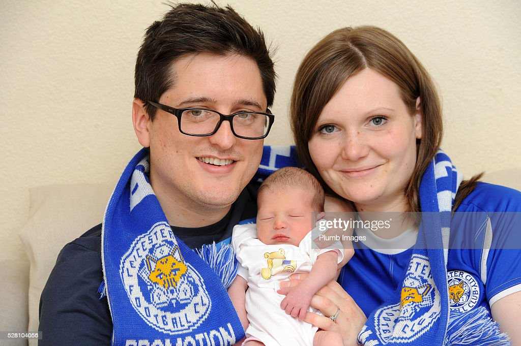 Leicester City fans Sarah and James Robinson have named their daughter Olivia-June Claudia Robinson to celebrate Leicester City's Premier League title on May 04 , 2016 in Leicester, United Kingdom.