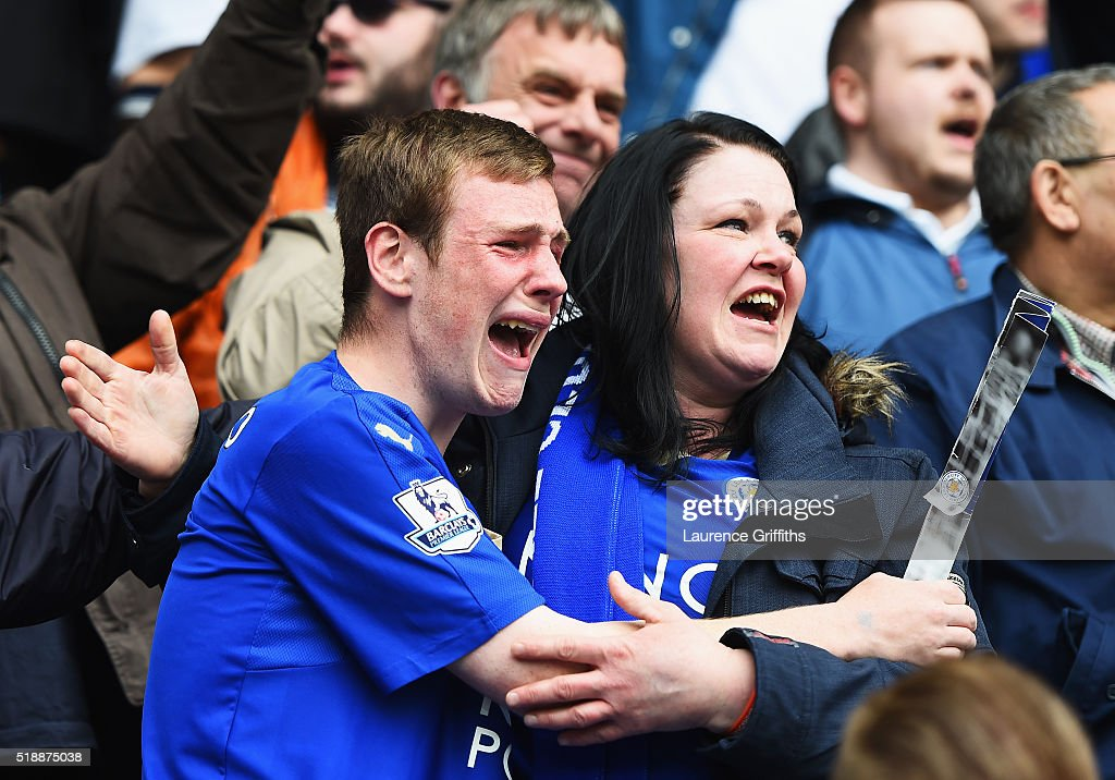 Leicester City fans show their emotions as they celebrate victory after the Barclays Premier League match between Leicester City and Southampton at The King Power Stadium on April 3, 2016 in Leicester, England.