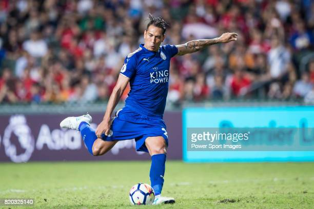 Leicester City FC forward Leonardo Ulloa in action during the Premier League Asia Trophy match between Leicester City FC and West Bromwich Albion at...