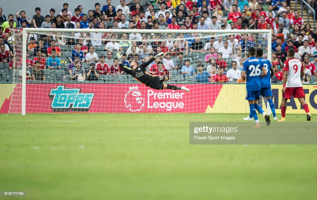 Leicester City FC goalkeeper Ben Hamer in action during the Premier League Asia Trophy match between Leicester City FC and West Bromwich Albion at Hong Kong Stadium on July 19, 2017 in Hong Kong, Hong Kong.