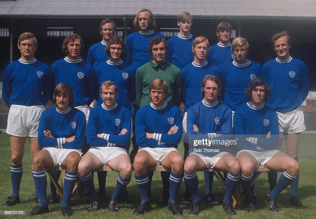 Leicester City football team, 1971. Back row, left to right: Bobby Kellard, Rodney Fern, Paul Matthews and Willie Carlin. Middle row: John Sjoberg, Malcolm Partridge, Alistair Brown, Peter Shilton, Steve Whitworth, Graham Cross and Mike Stringfellow. Front row: John Farrington, Alan Woollett, David Nish, Lenny Glover and Malcolm Manley.