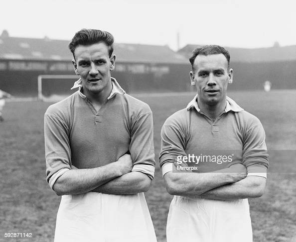 Leicester City footballer Don Revie poses with teammate Alex Scott during a training session 31st March 1949