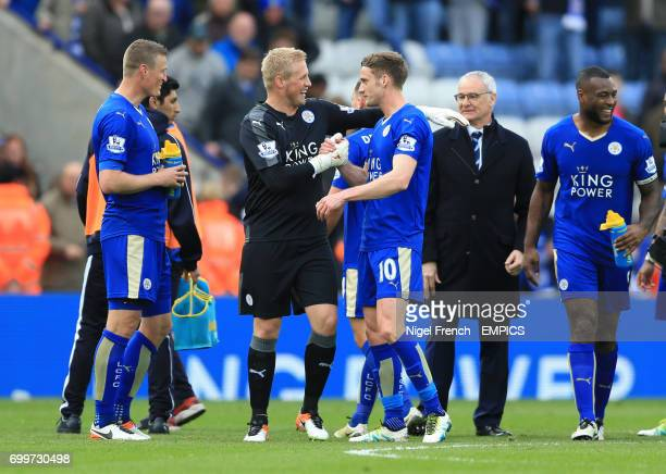 Leicester City goalkeeper Kasper Schmeichel and Andy King celebrate after the game against Swansea City