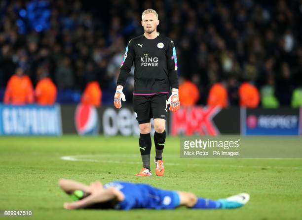 Leicester City goalkeeper Kasper Schmeichel and Jamie Vardy after the second leg of the UEFA Champions League quarter final match at the King Power...