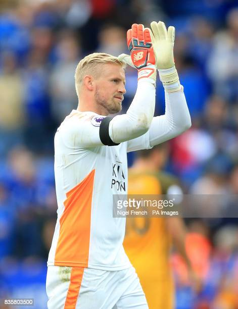 Leicester City goalkeeper Kasper Schmeichel applauds the fans after the Premier League match at the King Power Stadium Leicester