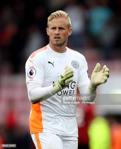 Leicester City goalkeeper Kasper Schmeichel applauds the fans after the Premier League match at the Vitality Stadium Bournemouth