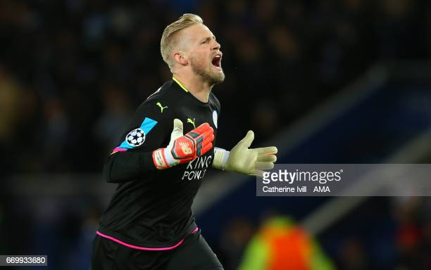 Leicester City goalkeeper Kasper Schmeichel celebrates during the UEFA Champions League Quarter Final second leg match between Leicester City and...