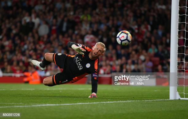 Leicester City goalkeeper Kasper Schmeichel during the Premier League match between Arsenal and Leicester City at Emirates Stadium on August 11 2017...