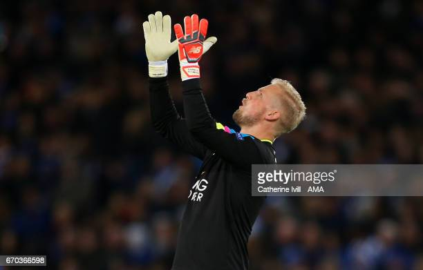Leicester City goalkeeper Kasper Schmeichel during the UEFA Champions League Quarter Final second leg match between Leicester City and Club Atletico...