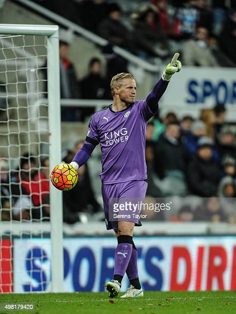 Leicester City Goalkeeper Kasper Schmeichel points one hand in the air whilst holding the ball during the Barclays Premier League match between...