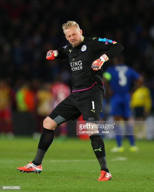 Leicester City goalkeeper Kasper Schmeichel reacts during the UEFA Champions League Quarter Final second leg match between Leicester City and Club...
