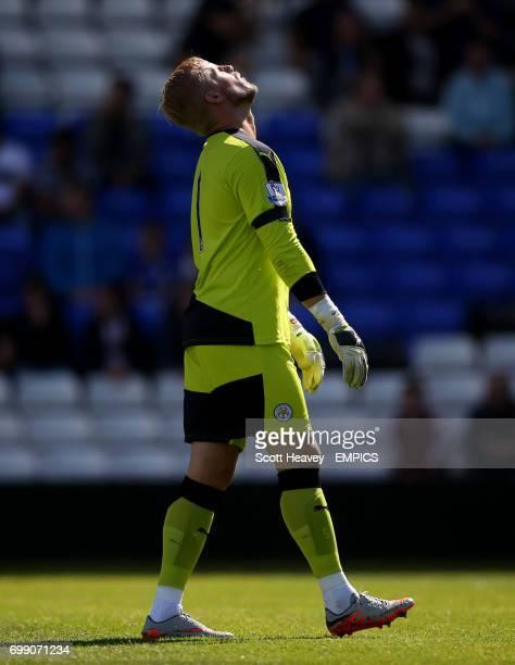 Leicester City goalkeeper Kasper Schmeichel reacts