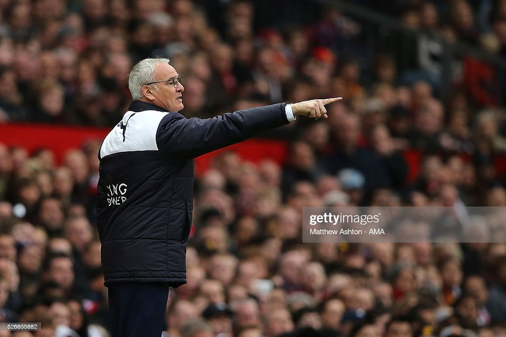 Leicester City Manager Claudio Rainieri gestures during the Barclays Premier League match between Manchester United and Leicester City at Old Trafford on May 1, 2016 in Manchester, United Kingdom.