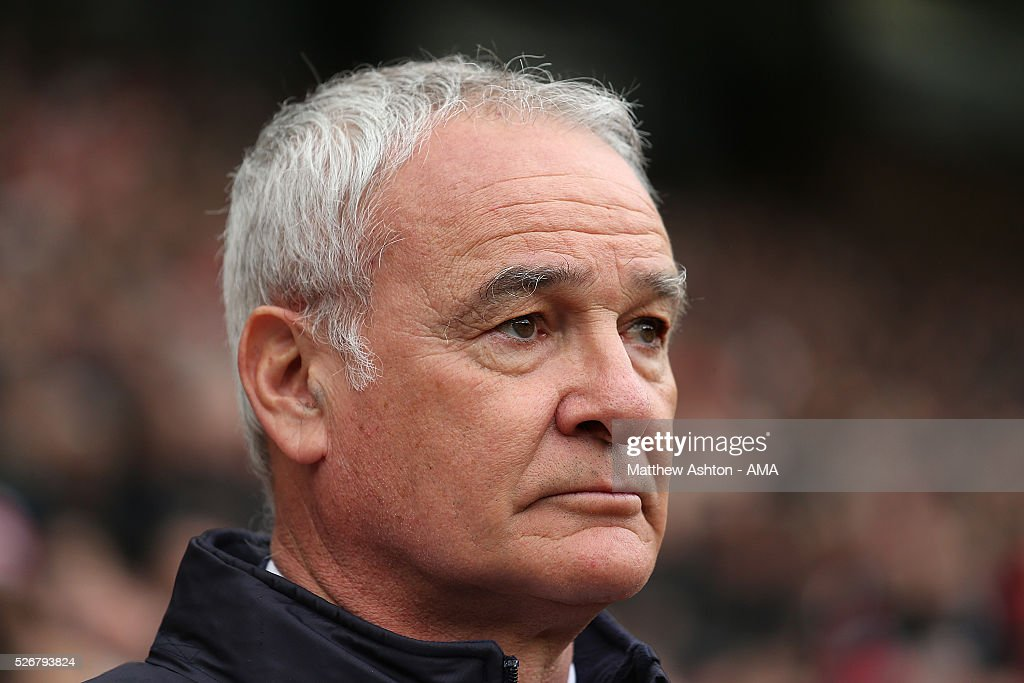 Leicester City Manager Claudio Rainieri looks on prior to the Barclays Premier League match between Manchester United and Leicester City at Old Trafford on May 1, 2016 in Manchester, United Kingdom.