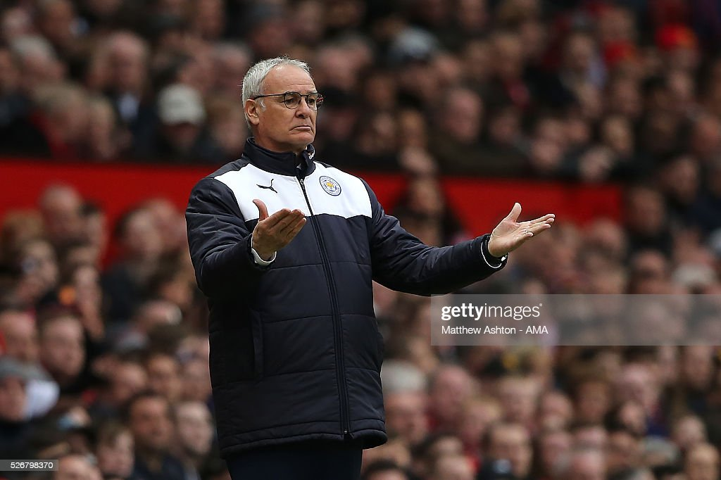 Leicester City Manager Claudio Rainieri reacts during the Barclays Premier League match between Manchester United and Leicester City at Old Trafford on May 1, 2016 in Manchester, United Kingdom.