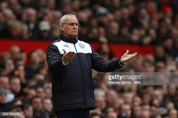 Leicester City Manager Claudio Rainieri reacts during the Barclays Premier League match between Manchester United and Leicester City at Old Trafford...